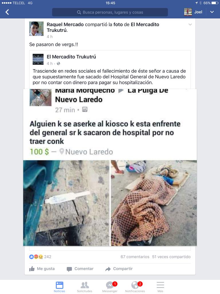 Los usuarios subieron imágenes y aseguran que el fallecido fue desalojado del hospital. Foto: redes sociales.